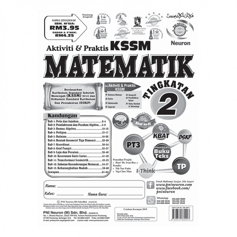 TINGKATAN 2 AKTIVITI & PRAKTIS KSSM MAT '18